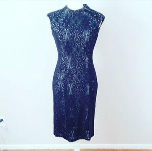 Kay Unger Navy Blue Open Crochet Lace White Dress